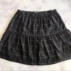 Madewell Windowpane Ruffle Hem Skirt in Black